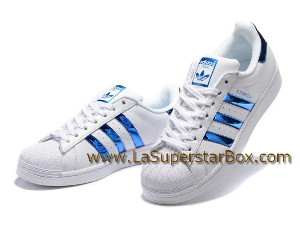 adidas superstar blanche et bleu