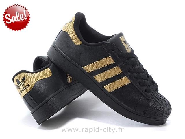 adidas superstar noir doré